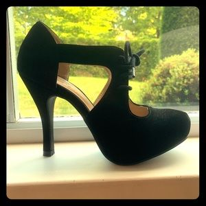 Black 5 inch stilettos, faux suede